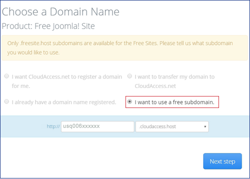 choose domain name - Step 2